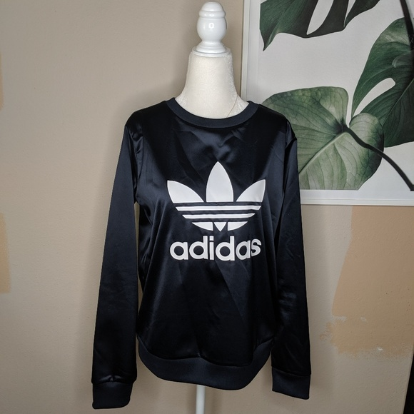 adidas Tops - Adidas Satin Big Logo Spell Out Tri Leaf Pullover